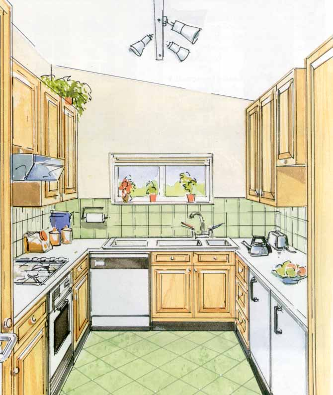Кухня-остров включает в себя