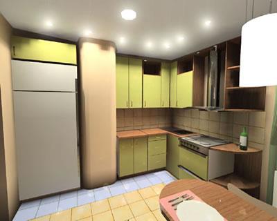 Воздуховод на кухне задекорирован