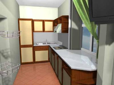 Длинная и узкая кухня столовая